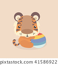 Cute little tiger on pastel background. 41586922