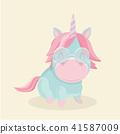 Funny cartoon unicorn on pastel background.  41587009