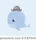 Cute baby whale on pastel background. 41587044