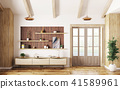 Interior of living room with sideboard and door 3d 41589961