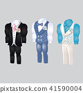 Set of animated mens clothing. Groom suit for wedding celebration isolated on a gray background 41590004