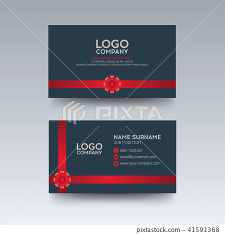Modern business card gray and red ribbon 41591368