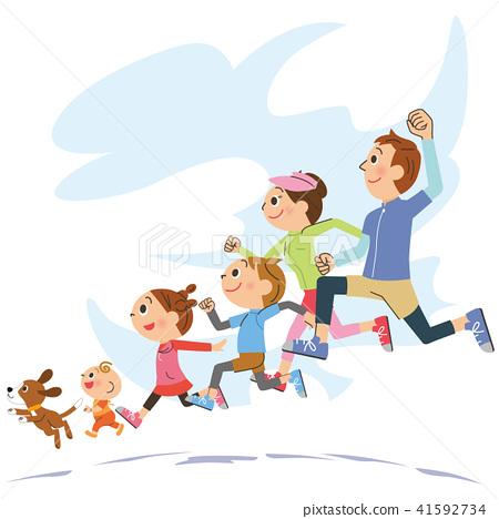 건강하게 달리기하는 가족 41592734