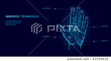 Low poly hand scan cyber security. Personal identification fingerprint handprint ID code 41594639