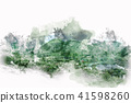 Mountain hill on watercolor painting background. 41598260