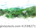 Mountain hill on watercolor painting background. 41598271