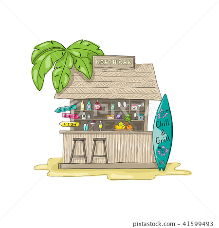 Beach bar with palm tree. With cocktails and surf Board. 41599493