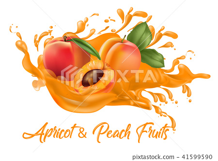 Apricot and peach on splash water , juices,vector 41599590