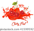 Cherries on splash water , juices,fresh ,vector  41599592