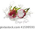 Dragon fruit on splash water , juices,fresh  41599593