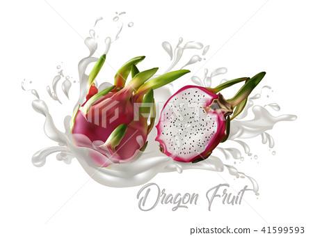 Dragon fruit on splash water , juices,fresh  41599593