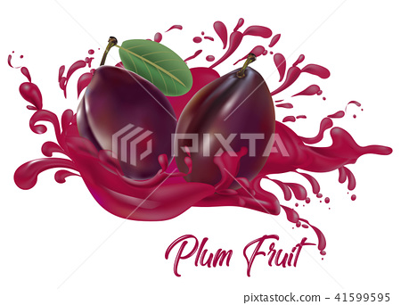 Plums on splash water , juices,fresh ,vector  41599595