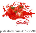 Tomatoes on splash water , juices,fresh ,vector  41599598
