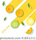 Fresh melon fruit background in paper art style 41601211
