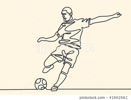 Continuous line drawing. football player  41602661
