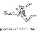 Continuous line drawing. football player  41602663