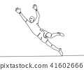 Continuous line drawing. football player  41602666