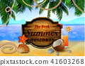 Beautiful beach view with wooden board 41603268
