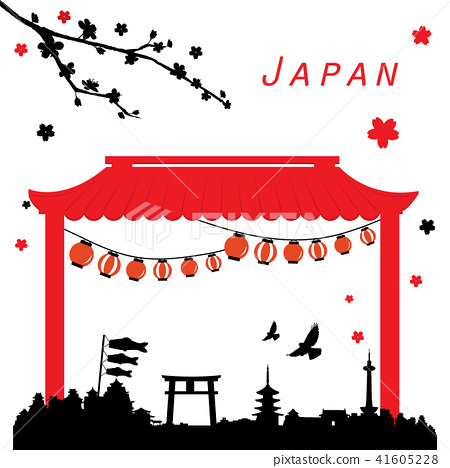 Japan View Travel Black and Red Vector 41605228