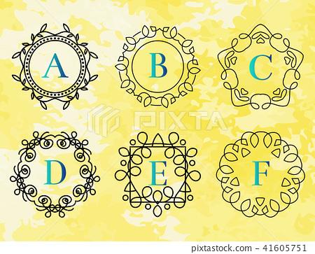 monogram template with flourishes calligraphic elegant ornament