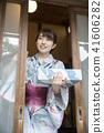 ภาพฤดูร้อนภาพผู้หญิง Yukata ของ Nakamoto การเข้าออกไป 41606282