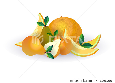 pear melon fruit on white background, healthy lifestyle or diet concept, logo for fresh fruits 41606360