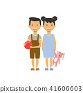 little girl hold toy rabbit and boy with ball , happy brother sister full length avatar on white 41606603