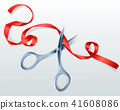 Scissors cutting red ribbon vector illustration 41608086