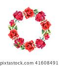 Red hybrid rose. Floral botanical flower.Frame border ornament square. 41608491