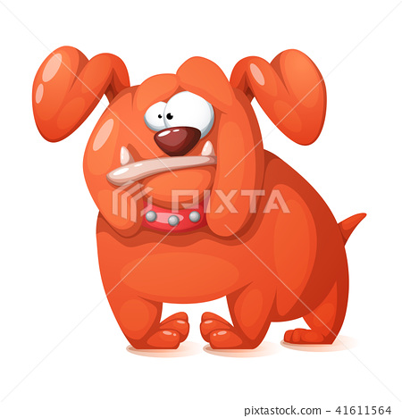 Funny, cute, crazy cartoon dog. 41611564