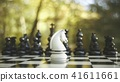 3D Rendering knight staying against set of chess 41611661