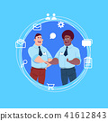 two mix race business men handshake over blue chat icons background agreement concept flat 41612843