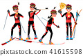 Biathlon Young Man Player Vector. Man. Shooting Range. Aiming With Competitive Gun. Flat Athlete 41615598