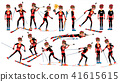 Biathlon Man Player Male Vector. Running In Biathlon Rise. Venue In The Forest. Cartoon Athlete 41615615