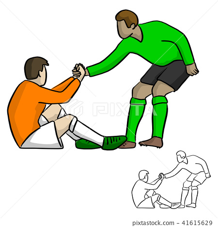 male soccer player helping each other in the game 41615629