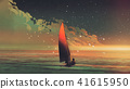 sailboat in the sea with the evening sunlight 41615950