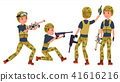 Young Army Soldier Man Vector. Poses. Ready For Battle. Camouflage Uniform. War. Man. Flat Military 41616216