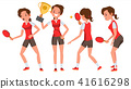 Table Tennis Young Woman Player Vector. Twists The Ball. Ping Pong. Girl Athlete. Flat Cartoon 41616298