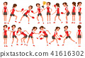 Table Tennis Female Player Vector. In Action. Sports Concept. Stylized Player. Cartoon Character 41616302