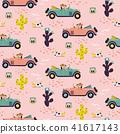 Car race in sand desert cute girl seamless pattern wallpaper. 41617143