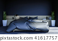 Black modern contemporary bedroom interior 41617757