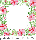Floral frame with red hibiscus flowers 41618258