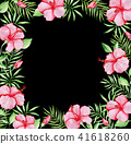 Tropical floral frame with red hibiscus 41618260