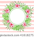 Tropical banner on a pink striped background 41618275