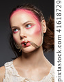 beautiful girl with pink makeup 41618729