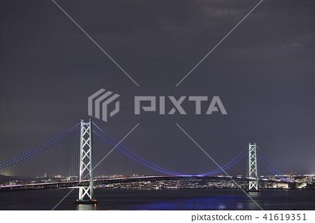 [兵庫縣淡路島]明石海峽大橋夜景 41619351