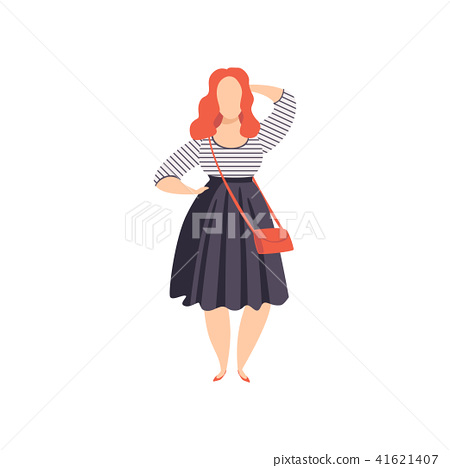Beautiful red haired curvy, overweigh girl in fashionable clothes, plus size fashion woman, body 41621407