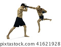 Two professional boxer boxing isolated on white studio background 41621928