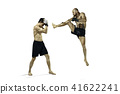 Two professional boxer boxing isolated on white studio background 41622241