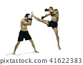 Two professional boxer boxing isolated on white studio background 41622383